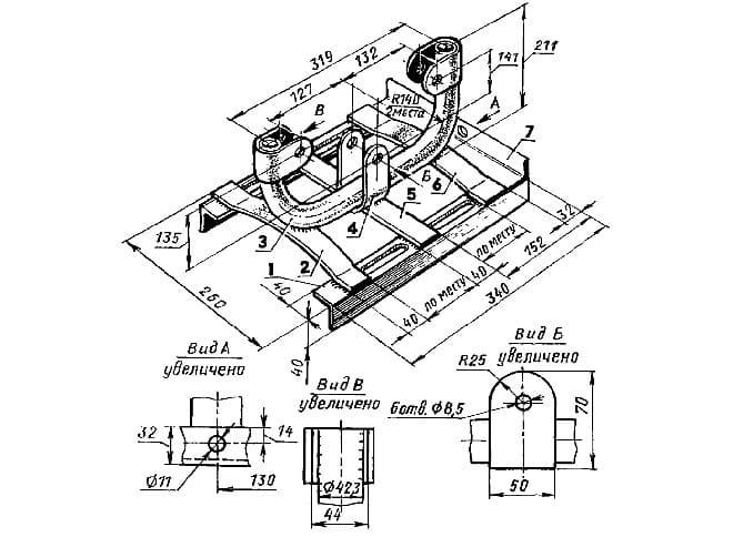 Чертеж рамы для двигателя на мотороллер Муравей