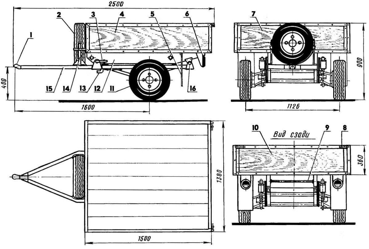 Тележка для мотобуксировщика своими руками чертежи