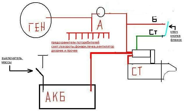 Цветная схема зарядки АКБ МТЗ-80