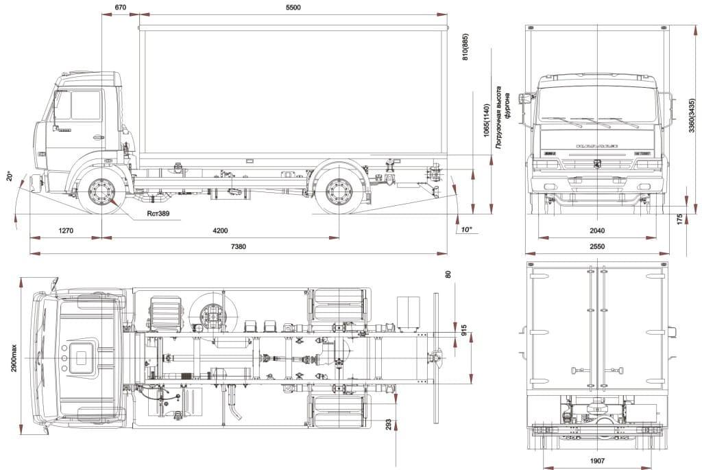 Фургон КамАЗ-4308 с будой габариты