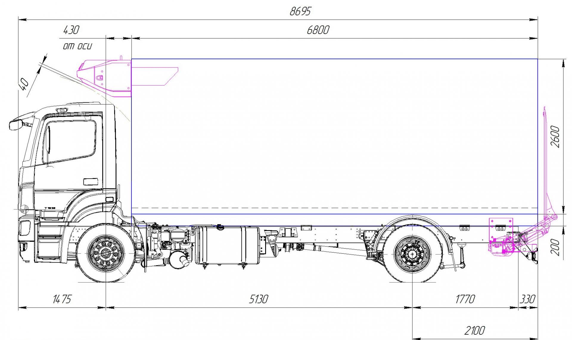 Фургон термос КамАЗ-5325 габариты