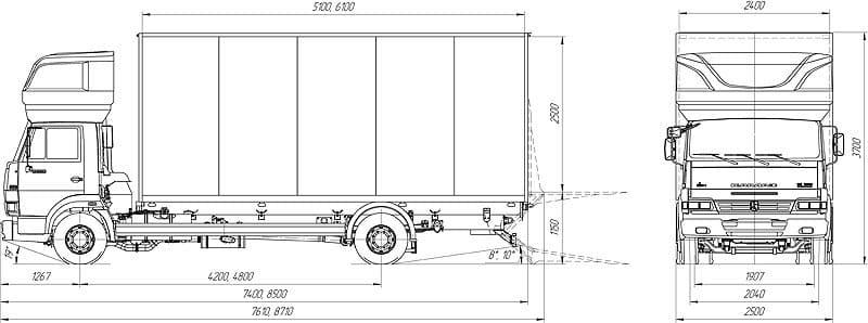 КамАЗ-4308 с холодильной установкой габариты