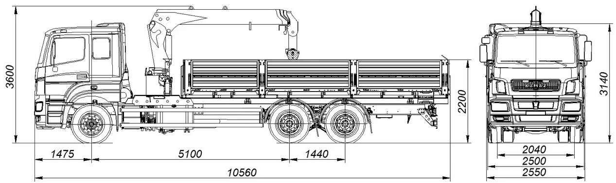 Камаз 65207 с манипулятором размеры кузова
