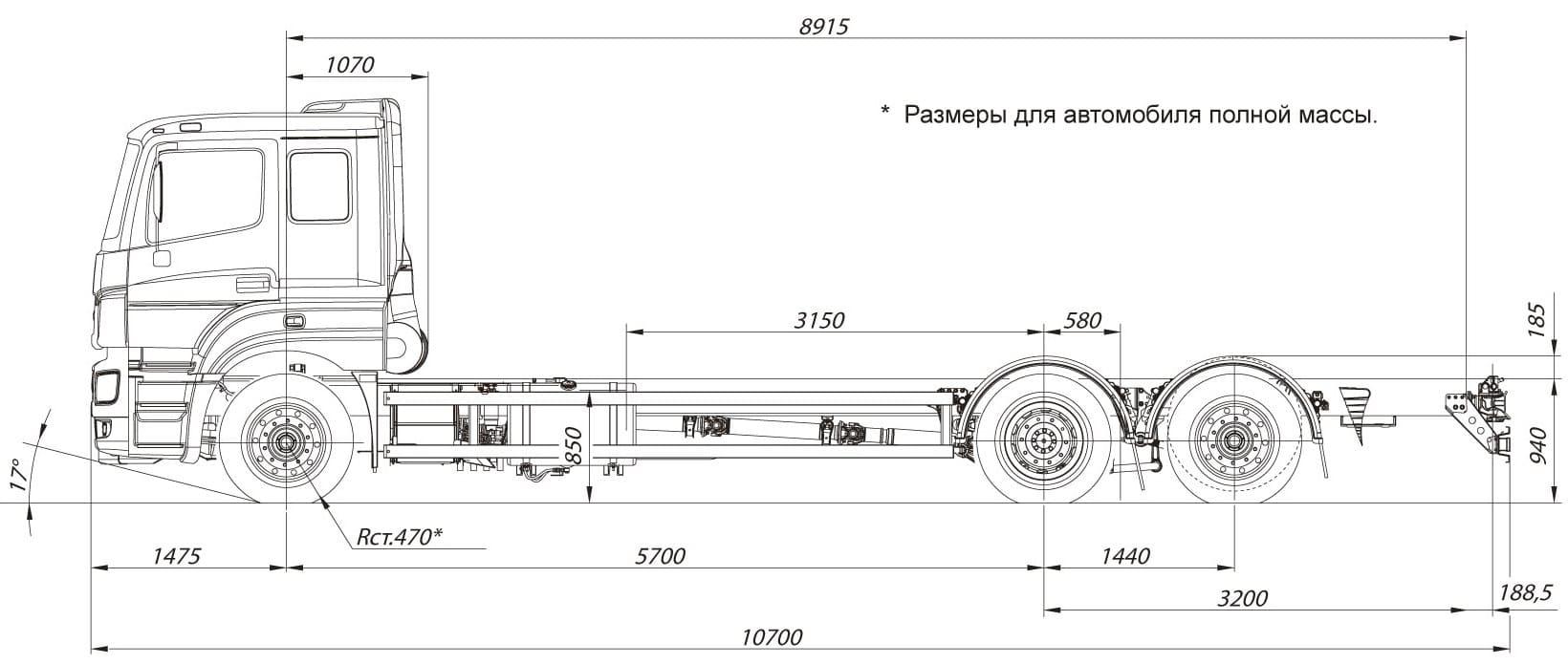 КАМАЗ 65208 габаритные размеры для автомобиля полной массы