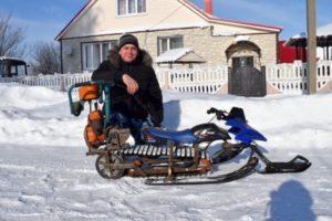 Как своими руками сделать снегоход из бензопилы подручных материалов