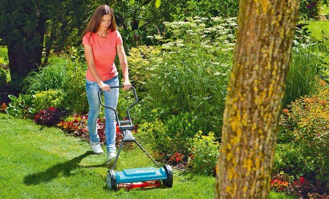 Стрижка травы в саду