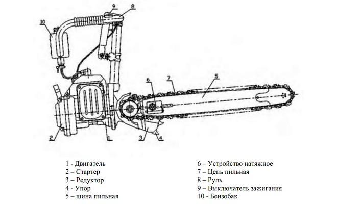 Устройство мотопилы Урал