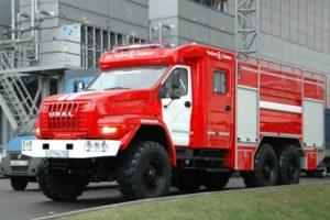 Технические характеристики модельного ряда пожарных автомобилей Урал