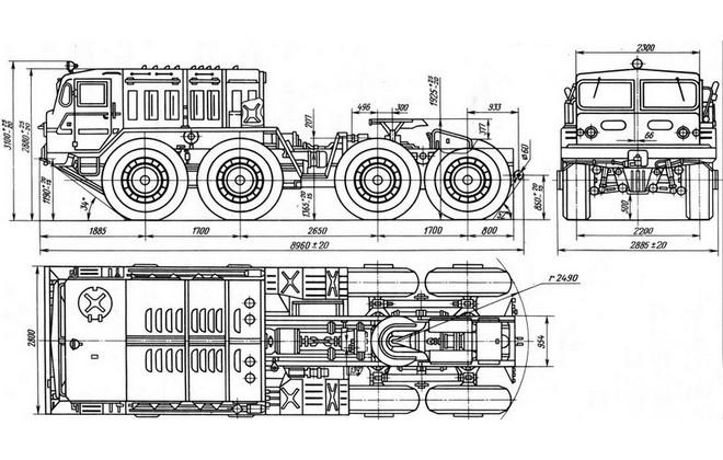 Схема габаритных размеров 537 модели