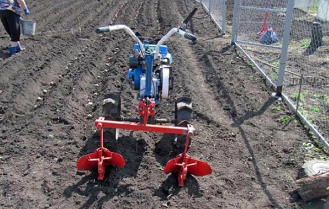 Посадка картофеля мотокультиватором