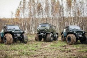 Вездеходы на базе УАЗ: редкие автомобили на шинах низкого давления и гусеницах