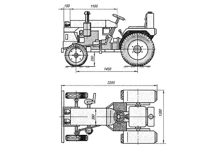 Чертеж трактора из Нивы