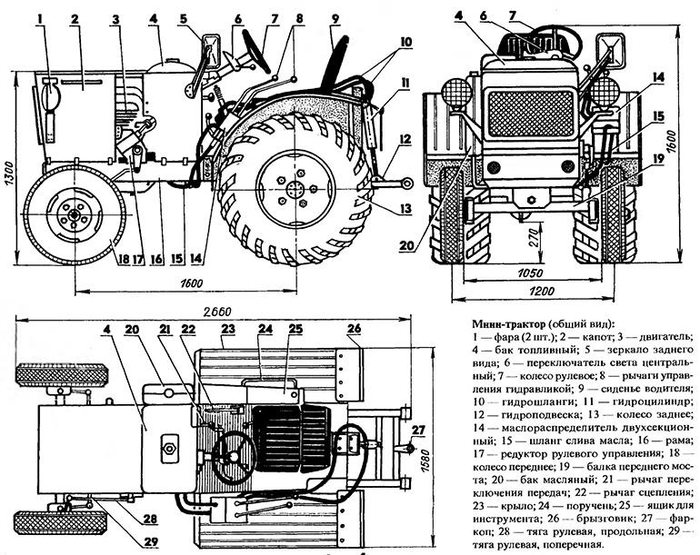 Конструкция мини-трактора