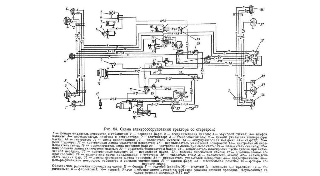 Схема электрооборудования Т-40