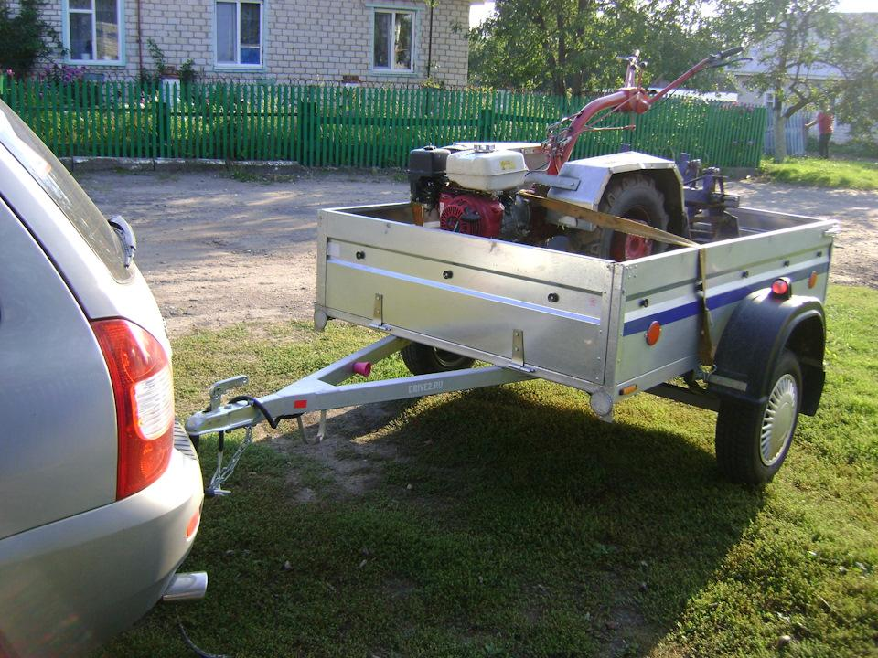 Перевозка мотоблока в прицепе легкового автомобиля